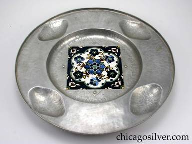 "Cellini tray, round, aluminum, with 5-1/2"" square, floral ceramic tile inset at center.  Note ""Artgental"" spelling error on underside."