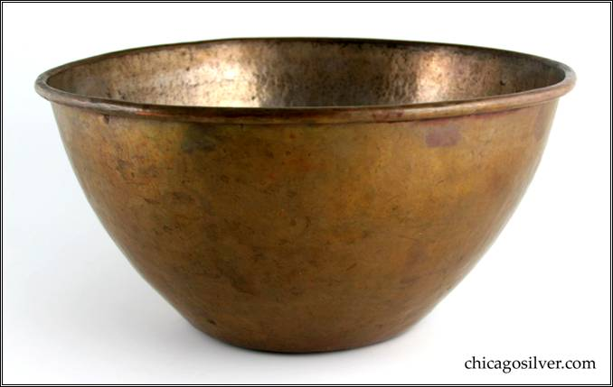 "Kalo bowl, copper, massive, round, with flat bottom, flaring sides, applied wire to rim, substantial amount of remaining silvering inside.  A heavy, monumental piece.  14-1/4"" W and 7-1/8"" H.  Marked:  KALO"