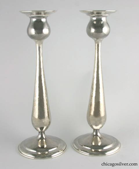 "Kalo candlesticks, tall, pair (2), with pedestal base, flat bottoms, and stepped circular foot, in tulip form with broad flange at top.  Very nice hammering.  12-1/2"" H and 4-3/4"" W at bottom, 3-3/16"" W at top.  Marked:  STERLING / HAND WROUGHT / AT / THE KALO SHOP / GS"