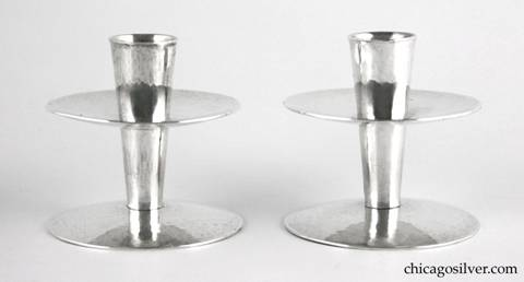 "Kalo candlesticks, pair (2), hammered surface with flared cylindrical bodies with broad disk bases and wax catches.  Modern styling.  3"" H and 3"" W.  HAND / WROUGHT / STERLING / KALO / 15"