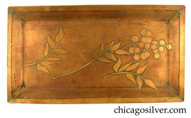 Carence Crafters tray, brass, rectangular, with raised edges and acid-etched design depicting three stems with leaves, and cluster of berries