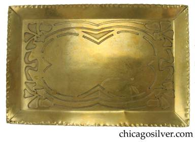 Carence Crafters tray, unusually large, brass, with stylized flowers at the corners and curving stencil-like lines connecting them.  Piece is very unusual for its size, its heavily hammered raised edge, and its reversed acid-etched design -- the flowers are lines are etched and oxidized rather than the background.  Heavy.
