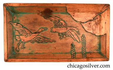 Carence Crafters tray, copper, rectangular, with acid-etched design of two ducks or geese flying over foliage into clouds
