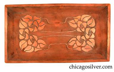 Carence Crafters tray, copper, rectangular, with acid-etched floral design at the ends and curving patterns of stems across the middle