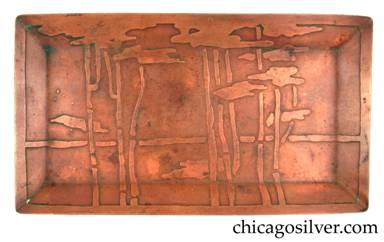 Carence Crafters tray, copper, rectangular, with raised edge and acid-etched bamboo design