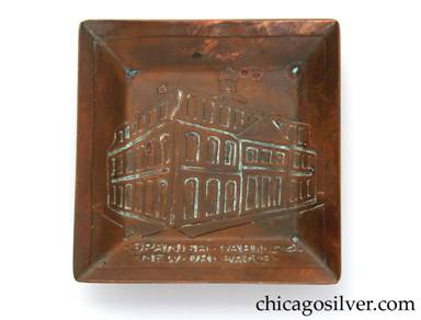 "Carence Crafters tray, copper, square, small, with lifelike acid-etched rendering of a building in perspective, and the legend ""SPANISH ● CABILDO ● / ● NEW ● ORLEANS ●""  [The Cabildo was built in 1799 and was the site of the transfer of Louisiana to the United States in 1803.  It later became the city hall and Supreme Court.]"