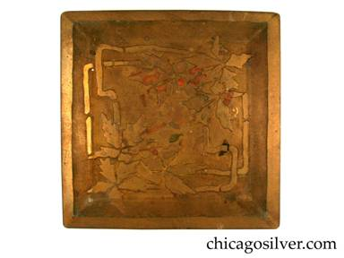Carence Crafters tray, brass, square, with raised edge and acid-etched design of segmented leaves and angular stems
