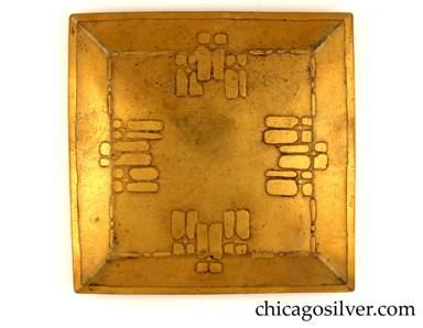 Carence Crafters tray, brass, square, with raised edge and acid-etched four-way symmetrical geometric design