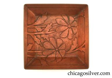 Carence Crafters tray, copper, small, square, with raised edge and acid-etched leaf and petal pattern