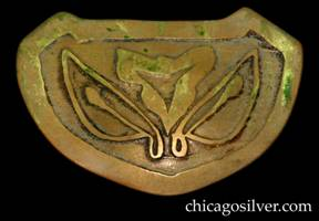 Forest Craft Guild brooch, brass, shield-shaped, with wide border and abstract acid-etched design.  Purchased with a signed FCG pin.