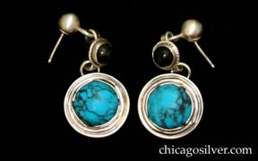Laurence Foss earrings with bezel-set cabochon turquoise stones
