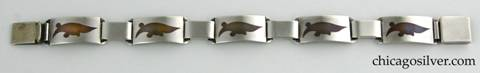 Laurence Foss silver bracelet with copper inserts
