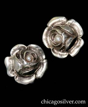 Clemens Friedell rose earrings with pearl at center