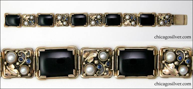 Gilbert Oakes bracelet, large rectangular links with black onyx cabochon plaques alternating with smaller gold work links with pearls and Montana sapphires, grape leaves, scrolls and bead ornaments