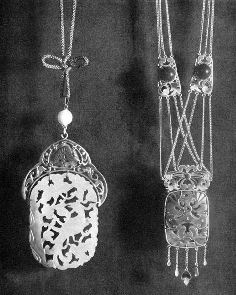 Handwrought pendants by Frank Gardner Hale