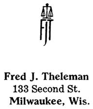 Fred J. Theleman jewelry mark
