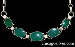 Kalo necklace / choker with heavy bar link chain with five oval links with flat green onyx cabochons