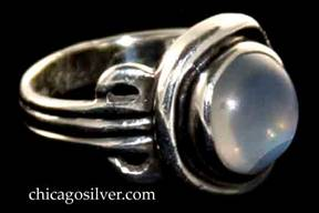 Kalo ring, with slightly oval bezel-set cabochon moonstone