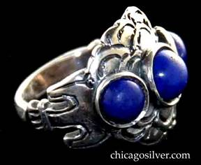 Kalo ring, with three round bezel-set lapis stones