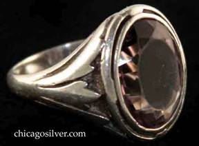 Kalo ring, with large vertical oval faceted bezel-set light-colored amethyst