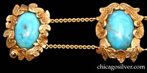 Detail from Lebolt bracelet, 14K gold with turquoise
