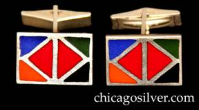 Kalo cufflinks, pair (2), rectangular, with five-color (blue-orange-red-green-black) geometric, diamond-shaped enamel design on slightly convex surface, hinged links.