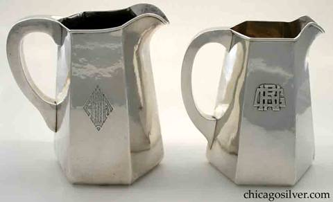 Randahl pitcher with engraved monogram and similar Kalo pitcher with applied monogram