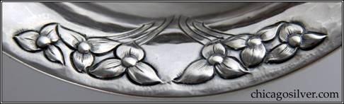 Kalo compotes, pair (2), footed, with wonderful chased and repoussé pattern of blossoms and stems repeated three times around rim -- detail
