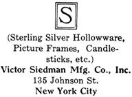 Victor Siedman Mfg. Co. silver mark