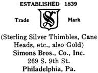 Simons Bros. Co. silver mark