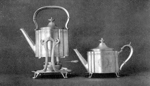 Hot water kettle and teapot suggested by English models Arthur J. Stone
