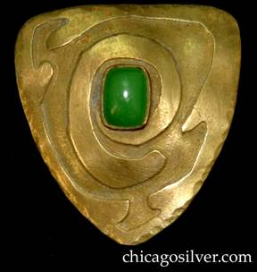 Brooch / pin, brass, triangular, with spiraling triangular line, centering green bezel-set stone.  Very reminiscent of Frost or Forest Craft Guild.