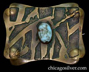 Pin, brass, large, freeform rectangular shaped, with acid-etched design centering light-blue copper-gold aventurine oval stone.  Concave edges and notches at the corners.