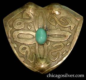 Pin, brass, large, shield-shaped, with notched top, acid-etched geometric design centering light green oval bezel-set stone