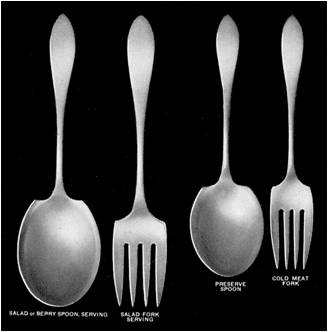 Guide to servers and utensils -- salad set and cold meat server