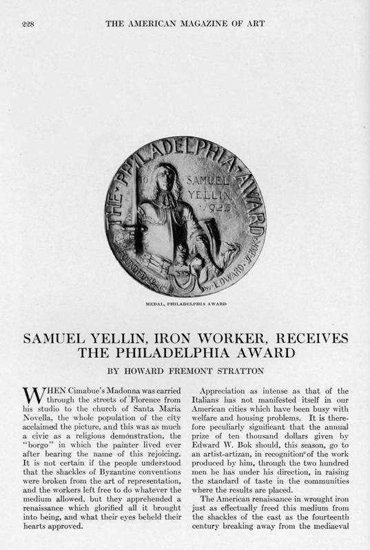 Samuel Yellin article